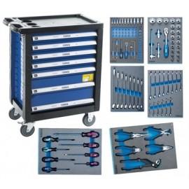 NAREX 443000994 Montážní skříň pojízdná (7 zásuvek) s nářadím 117ks (6modulů)   (7915043)